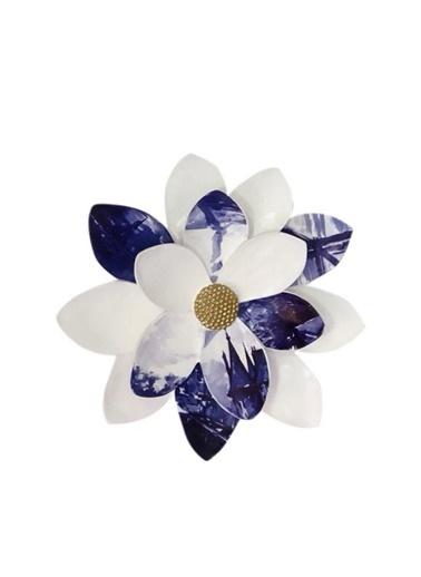 Lucky Art Mavi Beyaz Küçük Çiçek Dekor Renkli